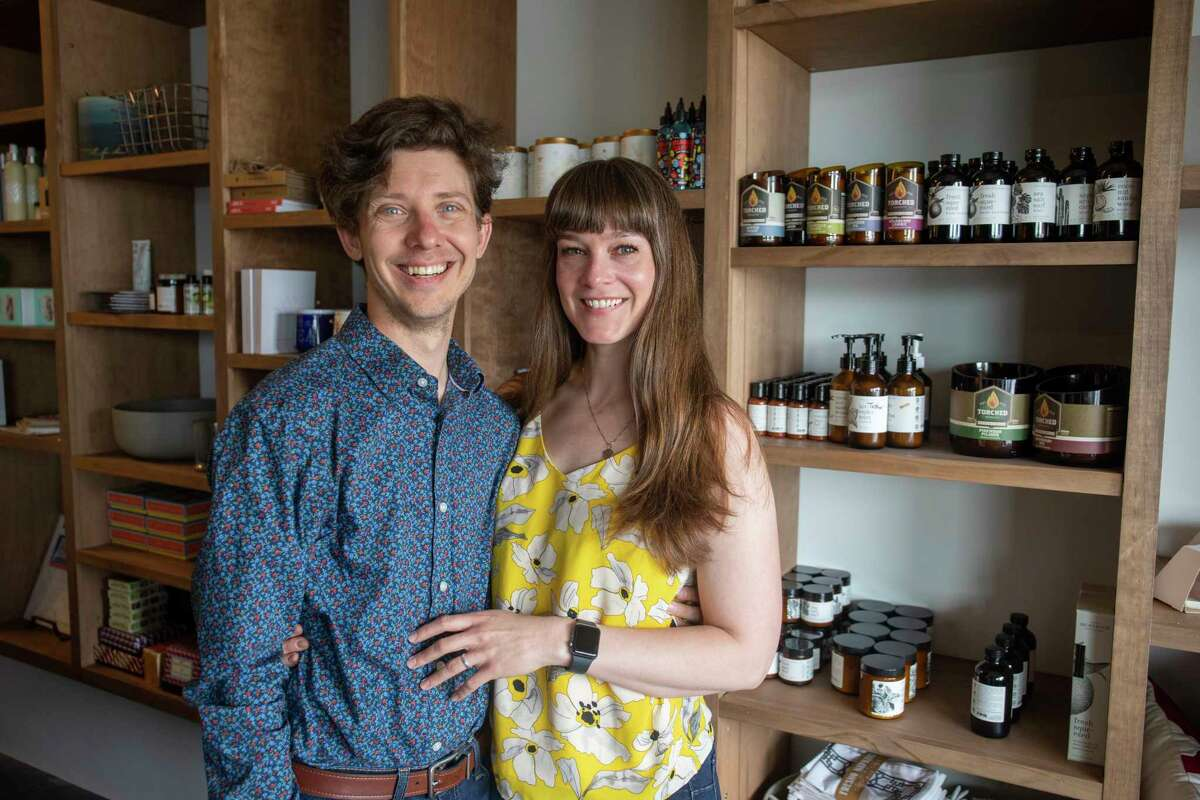 Ben and Samatha Spencer pose for a portrait Wednesday, June 30, 2021 at Bird Box Gifts and Spencer and Co. at 3211 W. Wadley Ave. Suite 16B. Jacy Lewis/Reporter-Telegram