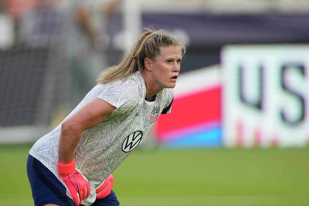 United States goalkeeper Alyssa Naeher, a Connecticut native, warms up before an international friendly against Portugal on June 10 in Houston.