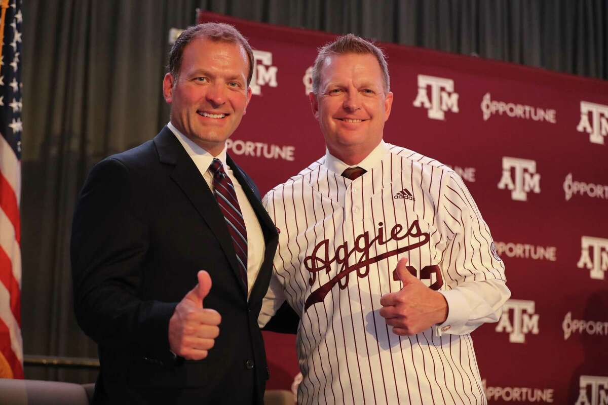 New Texas A&M baseball coach Jim Schlossnagle, right, flanked by athletic director Ross Bjork at his introductory news conference, introduced his top assistants Wednesday with a goal of joining the SEC's successful history in Omaha at College World Series.