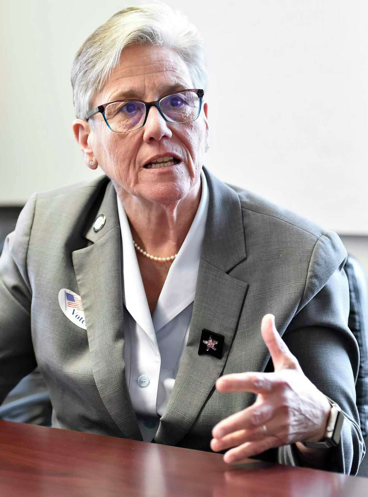 Colchester First Selectwoman Mary Bylone in a 2020 file photo.