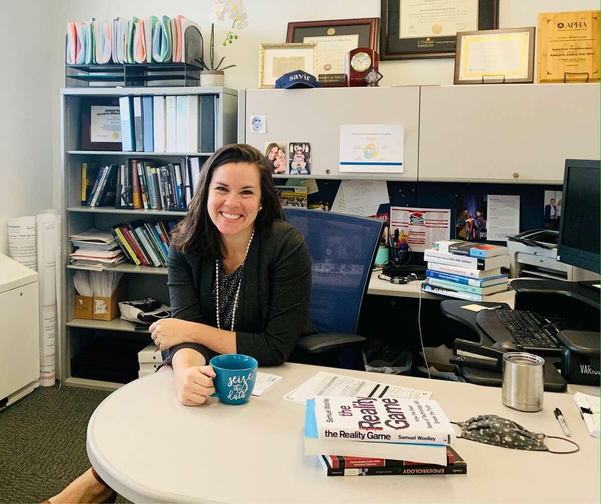 Katelyn Jetelina, MPH PhD, in her office.