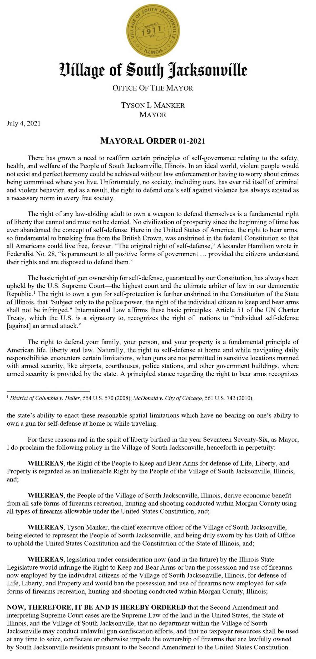 The text of an order establishing South Jacksonville as a Second Amendment Sanctuary.