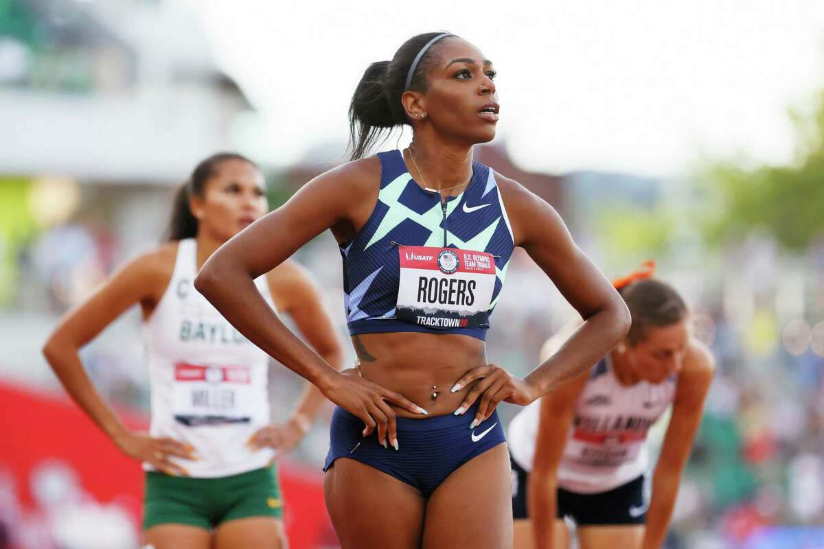 EUGENE, OREGON - JUNE 24: Raevyn Rogers looks on after competing in the first round of the Women's 800 Meter Run on day seven of the 2020 U.S. Olympic Track & Field Team Trials at Hayward Field on June 24, 2021 in Eugene, Oregon. (Photo by Steph Chambers/Getty Images)