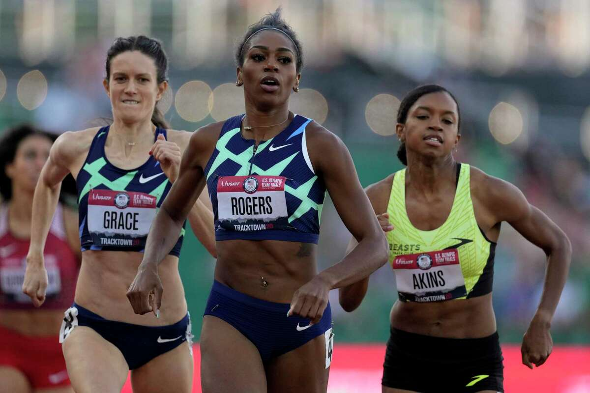 Raevyn Rogers wins the fifth heat in the women's 800-meter run at the U.S. Olympic Track and Field Trials Thursday, June 24, 2021, in Eugene, Ore.(AP Photo/Ashley Landis)