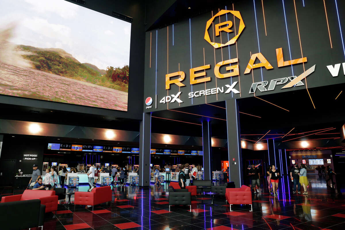 The main lobby at the entrance of the newly opened Regal Benders Landing multiplex theater Saturday, Jun. 26, 2021 in Spring, TX.