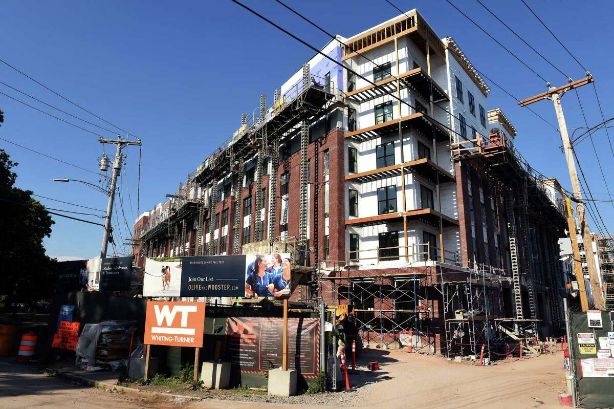 The Olive & Wooster Apartments under construction at the corner of Fair and Union Street in New Haven on June 30, 2021.