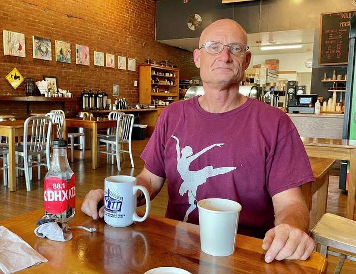 Edwardsville resident Lony Ness poses at Sacred Grounds Cafe, 223 N. Main St., Edwardsville.