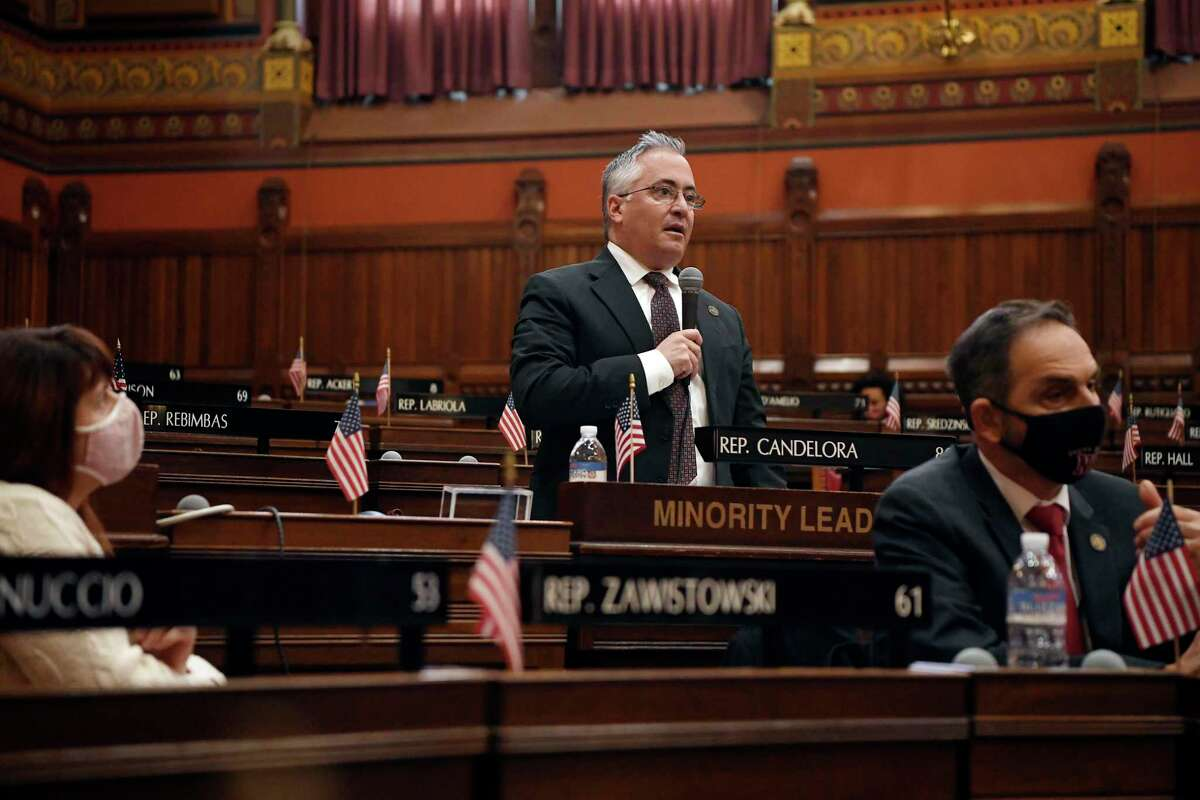 Newly sworn in Connecticut House Minority Leader Vincent Candelora, R-North Branford, speaks in the House during opening session at the State Capitol, Jan. 6, 2021, in Hartford, Conn.