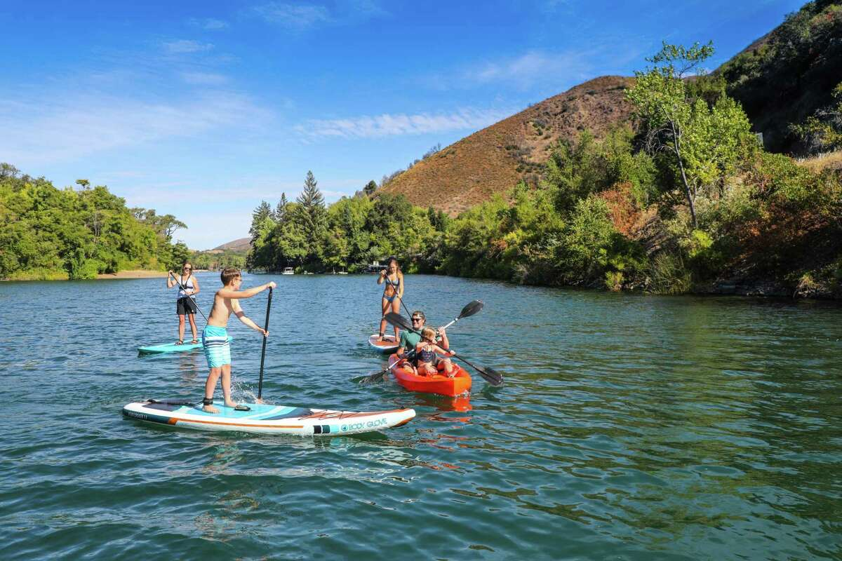 Standup paddleboarding the Blue Lakes in Kelseyville, Calif.