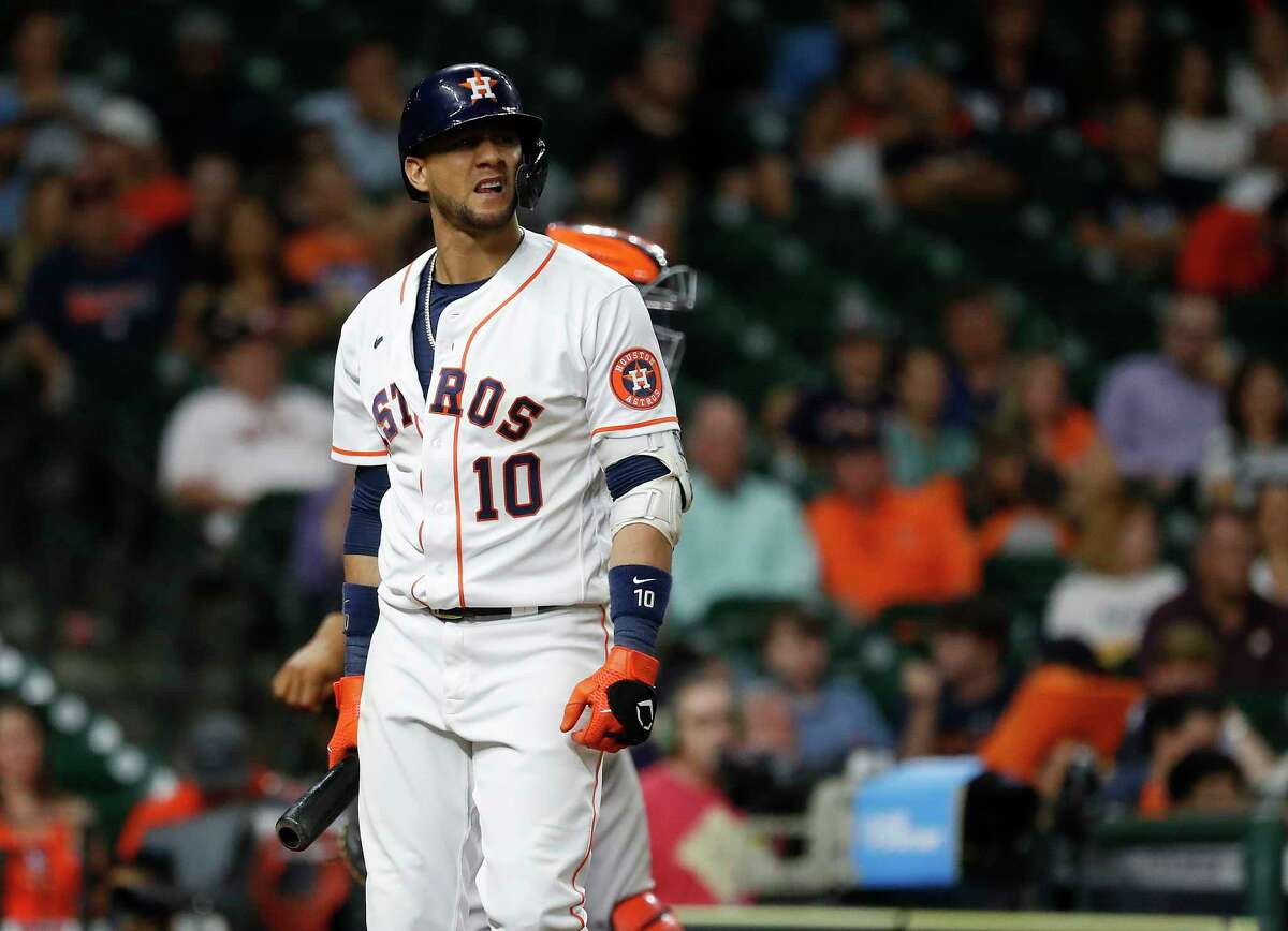 Houston Astros Yuli Gurriel (10) reacts after striking out against Baltimore Orioles relief pitcher Cole Sulser (54) during the eighth inning of an MLB baseball game at Minute Maid Park, Wednesday, June 30, 2021, in Houston.
