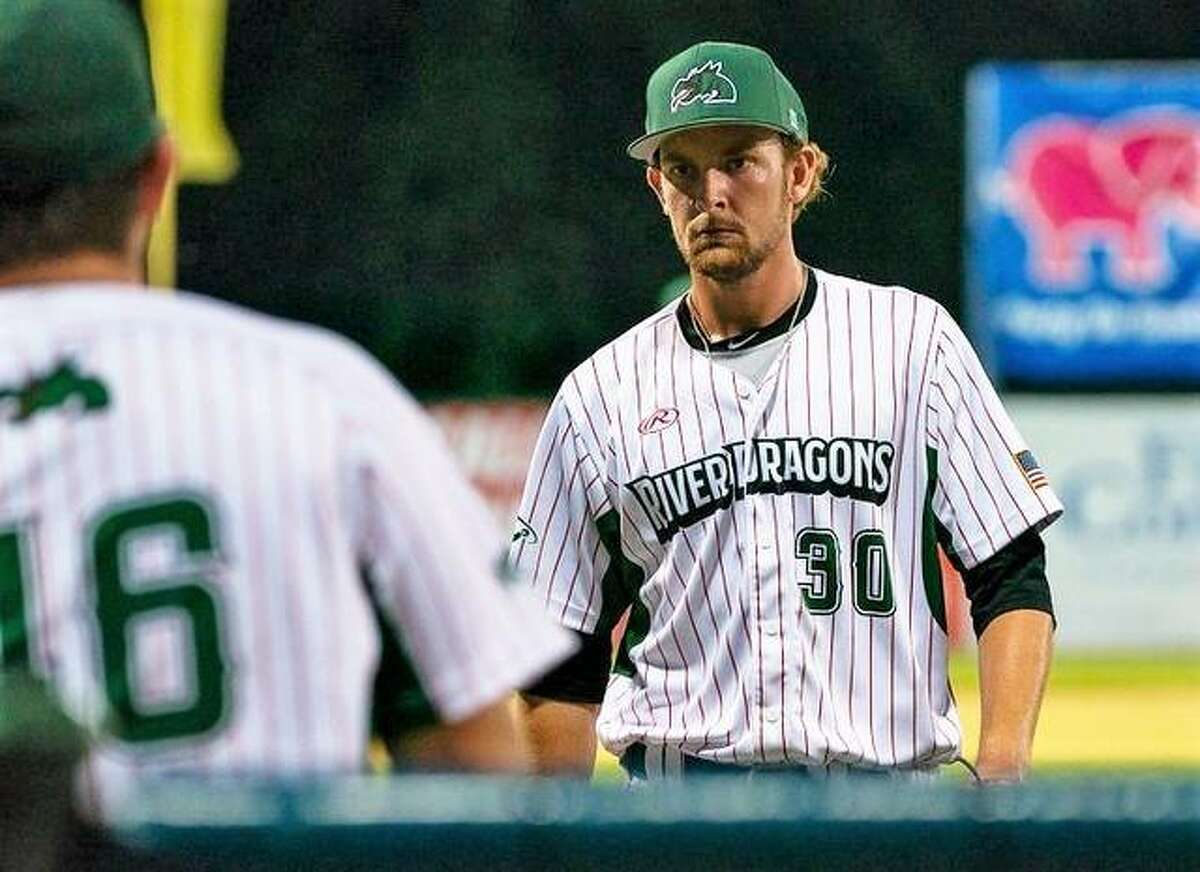 Alton pitcher Bryce Einstein (30) was tagged with the loss in Wednesday night's 7-5 Burlington victory over the River Dragons at Lloyd Hopkins Field.