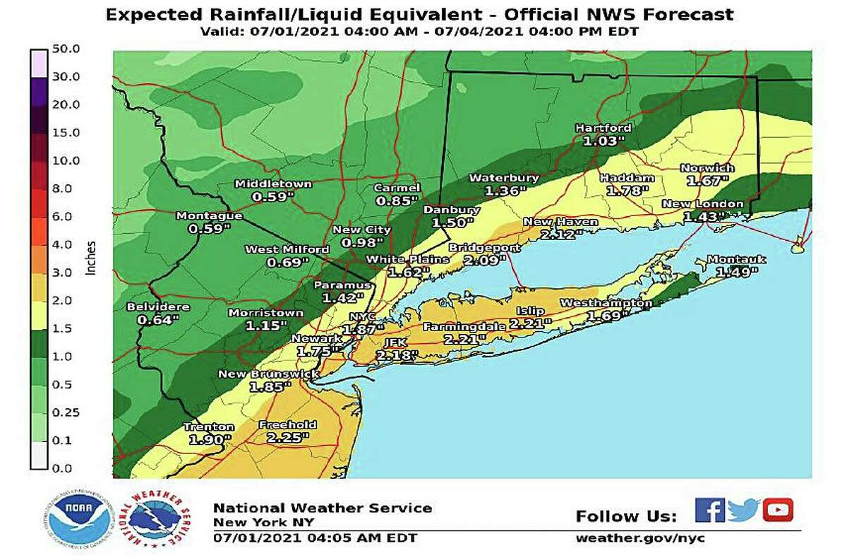 Connecticut could see up to a little more than 2 inches of rain on Thursday, July 1, 2021, after three days of incredibly hot, humid weather.