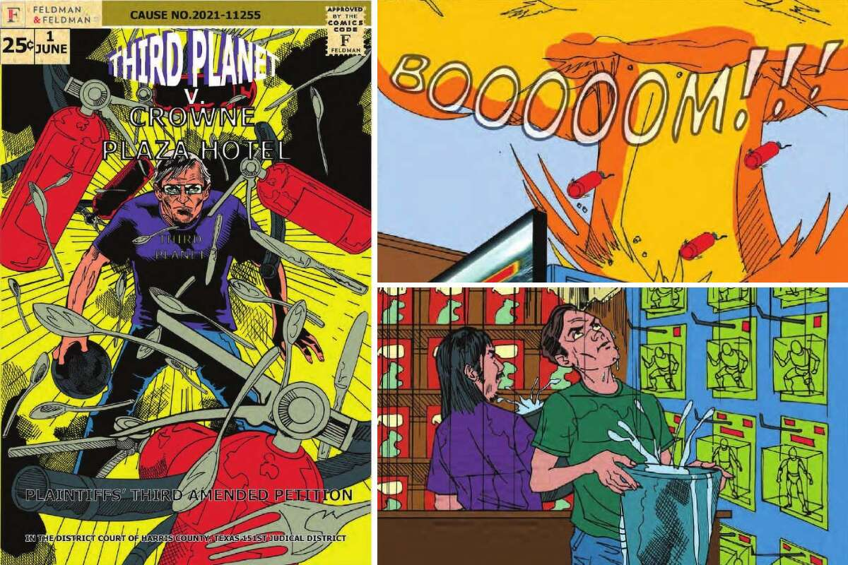 Third Planet owner T.J. Johnson enlisted a team of illustrators to draw out his comic shop's saga against Crowne Plaza River Oaks for the people he's fighting in court. Click ahead to see the illustrations from Johnson's lawsuit.