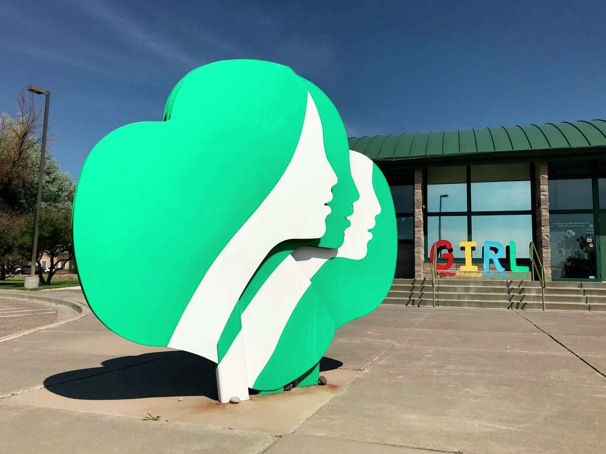 FILE - This June 7, 2021 file photo shows the headquarters of Girl Scouts of New Mexico Trails in Albuquerque, N.M. The Girl Scouts say their youth membership fell by nearly 30%, from about 1.4 million in 2019-2020 to just over 1 million in 2021.