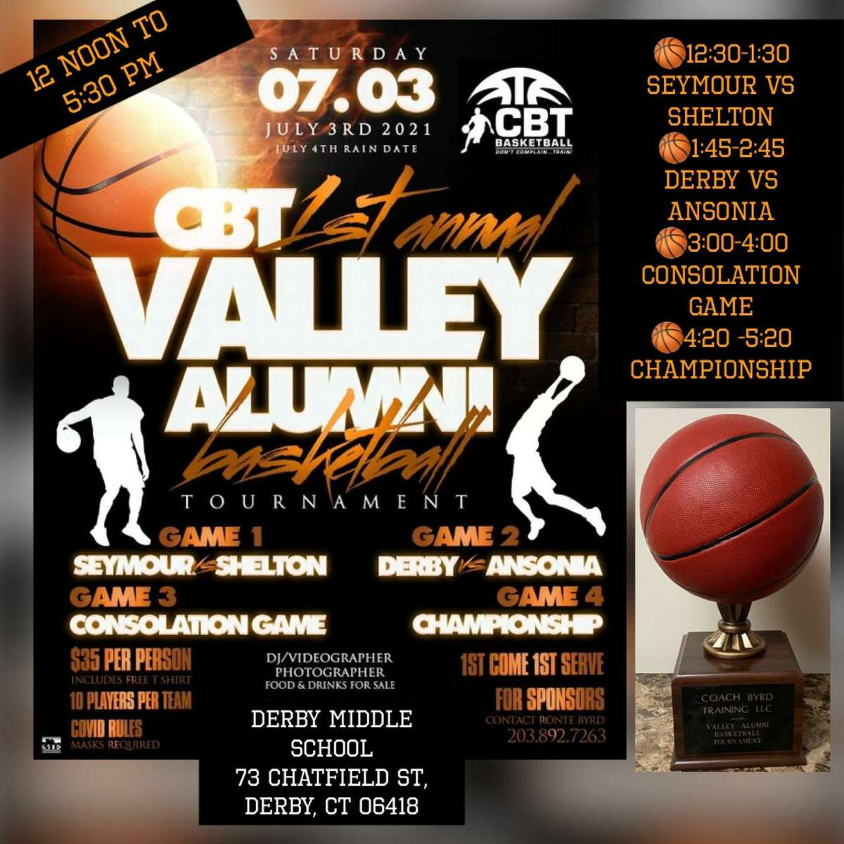 Ronté Byrd has organized the first Valley alumni basketball tournament to be held Saturday, June 3, 2021, and feature teams from Shelton, Seymour, Derby and Ansonia.