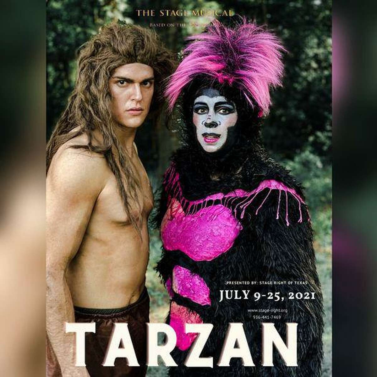 """Stage Right of Texas presents """"Tarzan"""" opening July 9 at the Crighton Theatre. Pictured are siblings Lucas Olivarez as Tarzan and Christina Sato as Kala."""
