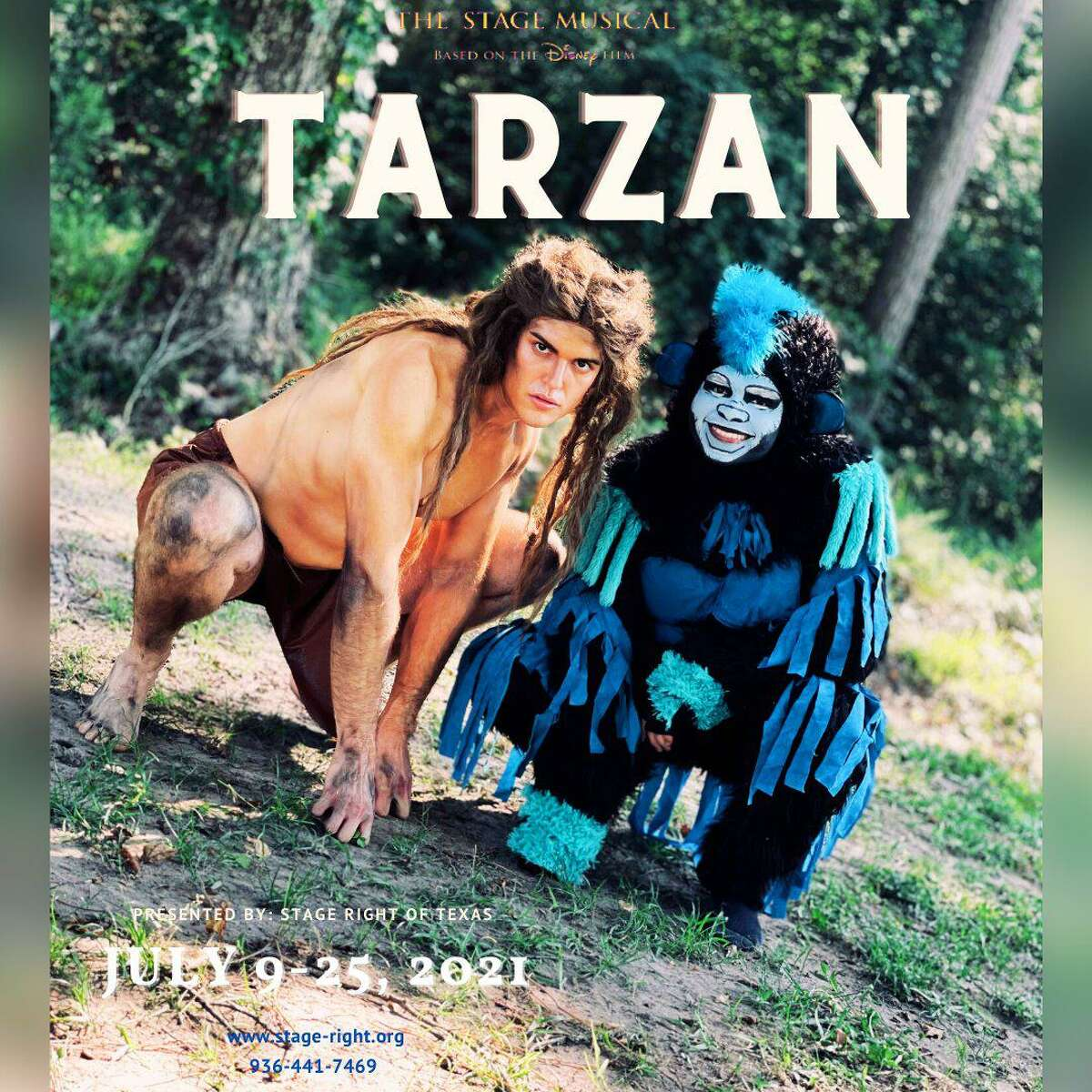 """Stage Right of Texas presents """"Tarzan"""" opening July 9 at the Crighton Theatre. Pictured are Lucas Olivarez as Tarzan and Jonah Mendoza as Terk."""