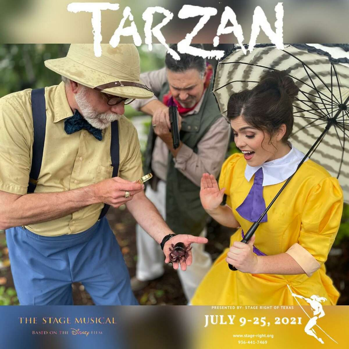 """Stage Right of Texas presents """"Tarzan"""" opening July 9 at the Crighton Theatre. Pictured from left are Dallas Hiett as Porter, Jeremy Desel as Clayton and Victoria Best as Jane."""