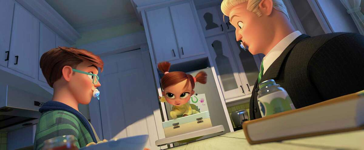 """This image released by DreamWorks Animation shows Tim Templeton, voiced by James Marsden, from left, Tina Templeton, voiced by Amy Sedaris and Ted Templeton, voiced by Alec Baldwin, in a scene from """"The Boss Baby: Family Business."""" (DreamWorks Animation via AP)"""