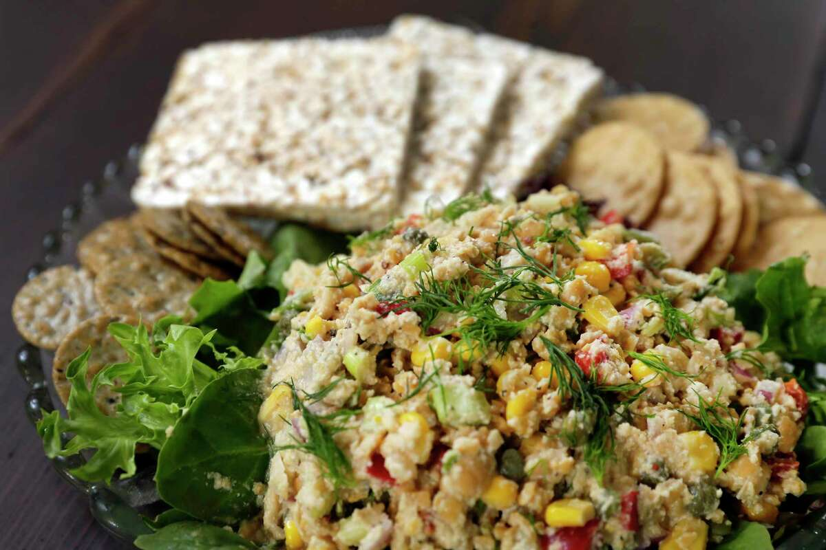 Aguirre's vegan tuna salad appears in the book.