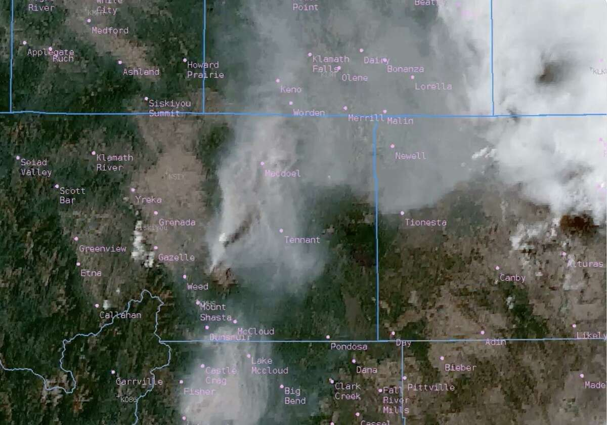 A satellite image showing pyrocumulus clouds forming over the Lava Fire burning in Siskiyou County. The cloud, which forms over extreme-heat events like fires and volcanoes, was estimated to have reached 38,000 feet into the air.