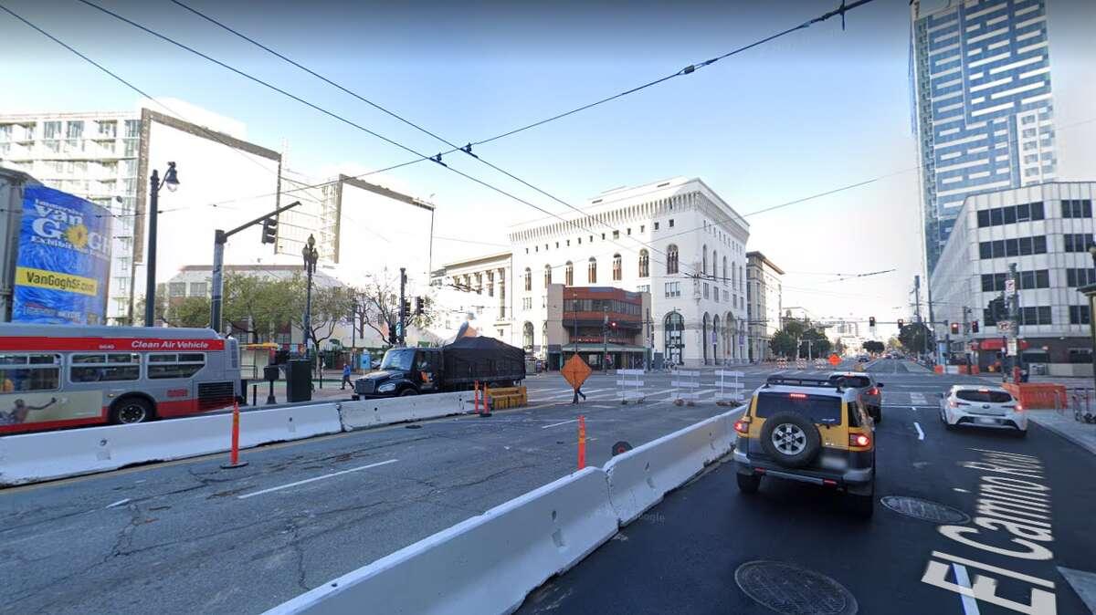 Construction is seen on Van Ness Avenue in San Francisco.