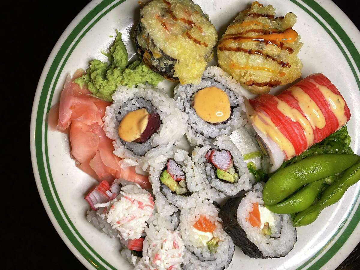 Sushi options at Asian Star Super Buffet include a number of prepared rolls with crab, salmon, tuna and more, plus tempura-fried rolls, edamame, ginger and wasabi.