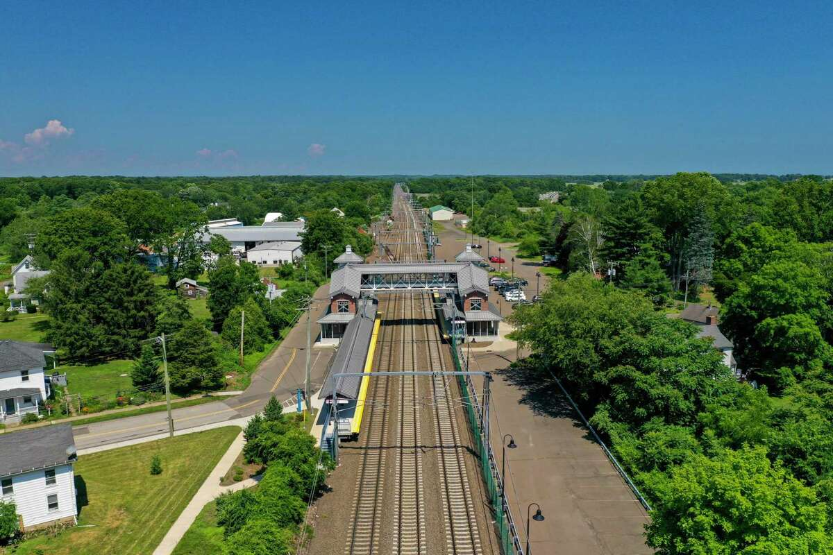 An aerial view of the Guilford train station. Legislation passed in the closing days of the session this year included a provision directing the state Department of Transportation to study the feasibility of extending the Shore Line East rail service from its current terminus in New London to Westerly, R.I.