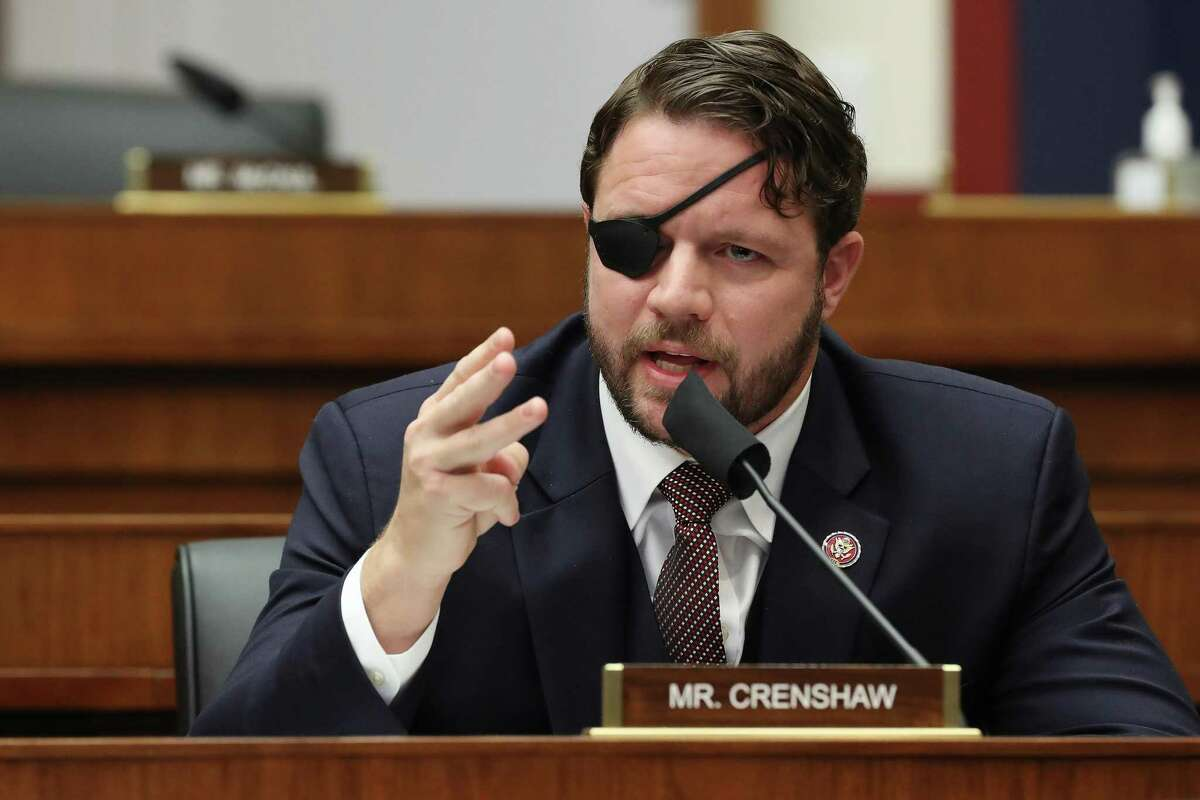 Rep. Dan Crenshaw, R-Texas, questions witnesses during a House Homeland Security Committee hearing on Capitol Hill on September 17, 2020, in Washington, D.C.