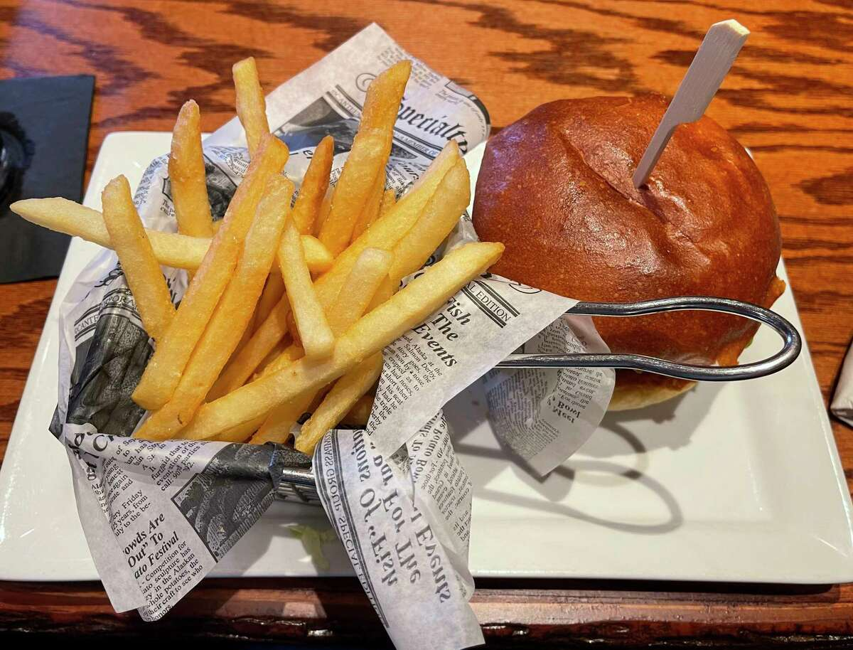 The bacon cheddar burger found on the menu at Antlers Fireside Grill is amongthe best in Mecosta County. (Pioneer photo/Joe Judd)
