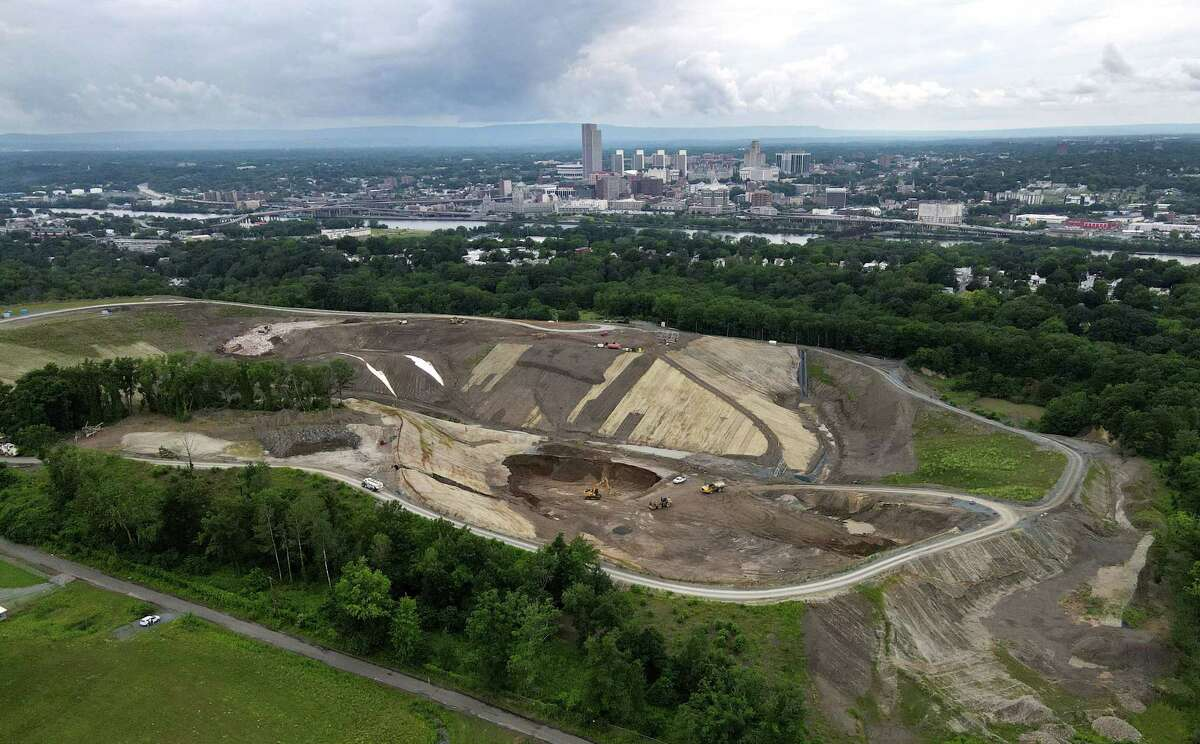 The SA Dunn landfill is seen from above Partition Street Extension on Thursday, July 1, 2021, in Rensselaer, N.Y. (Will Waldron/Times Union)