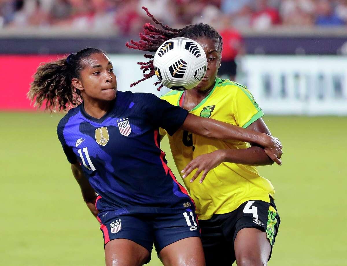 U.S. forward Catarina Macario battles with Jamaica midfielder Vyan Sampson during a friendly on June 13.
