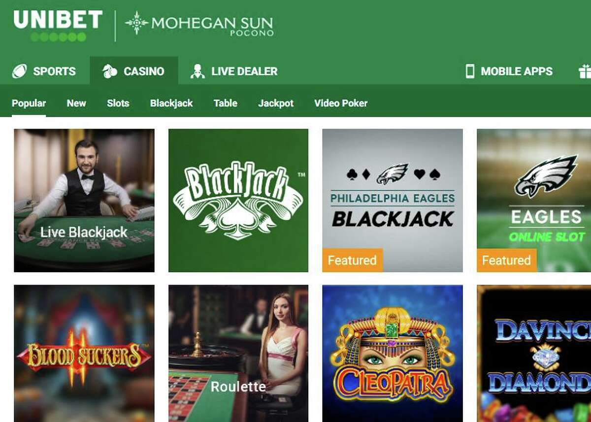 A screenshot of the Unibet iGaming website through which Mohegan Sun Pocono offers interactive gaming and sports wagering in Pennsulvania. (Screenshot via Unibet)