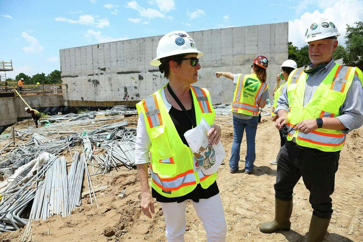 """Houston Zoo COO Sheryl Kolasinski and CEO Lee Ehmke show off the zoo's construction site for its """"Galápagos Islands"""" exhibit on Tuesday, June 22, 2021. The exhibit is scheduled to open in fall 2022."""