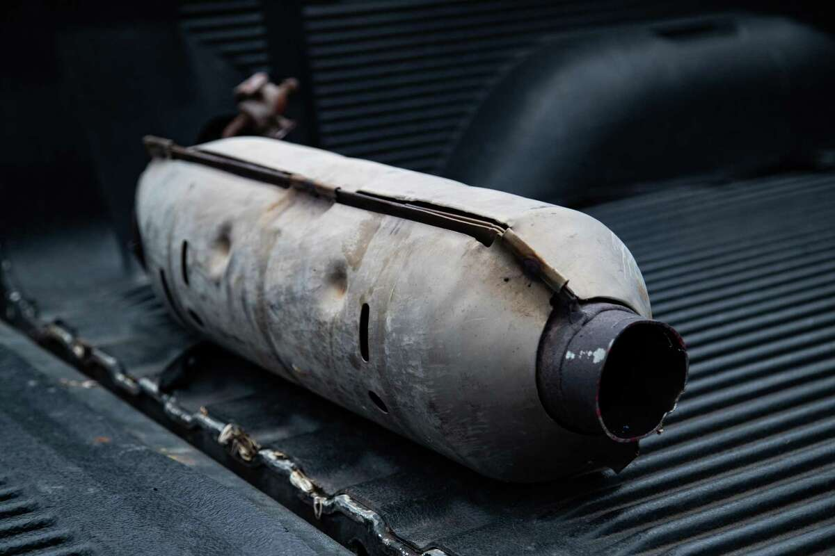 Stolen catalytic converter recuperated by the Houston Police Department in northwest Houston, Friday, June 4, 2021.