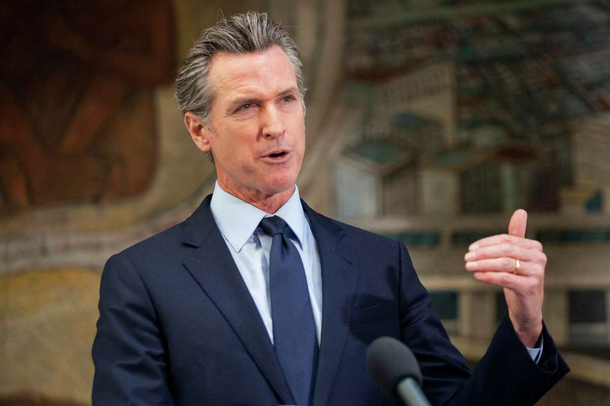 Governor Gavin Newsom addresses the crowd during a press conference held at Unity Council career center in the Fruitvale neighborhood of Oakland, Calif. Monday, May 10, 2021.