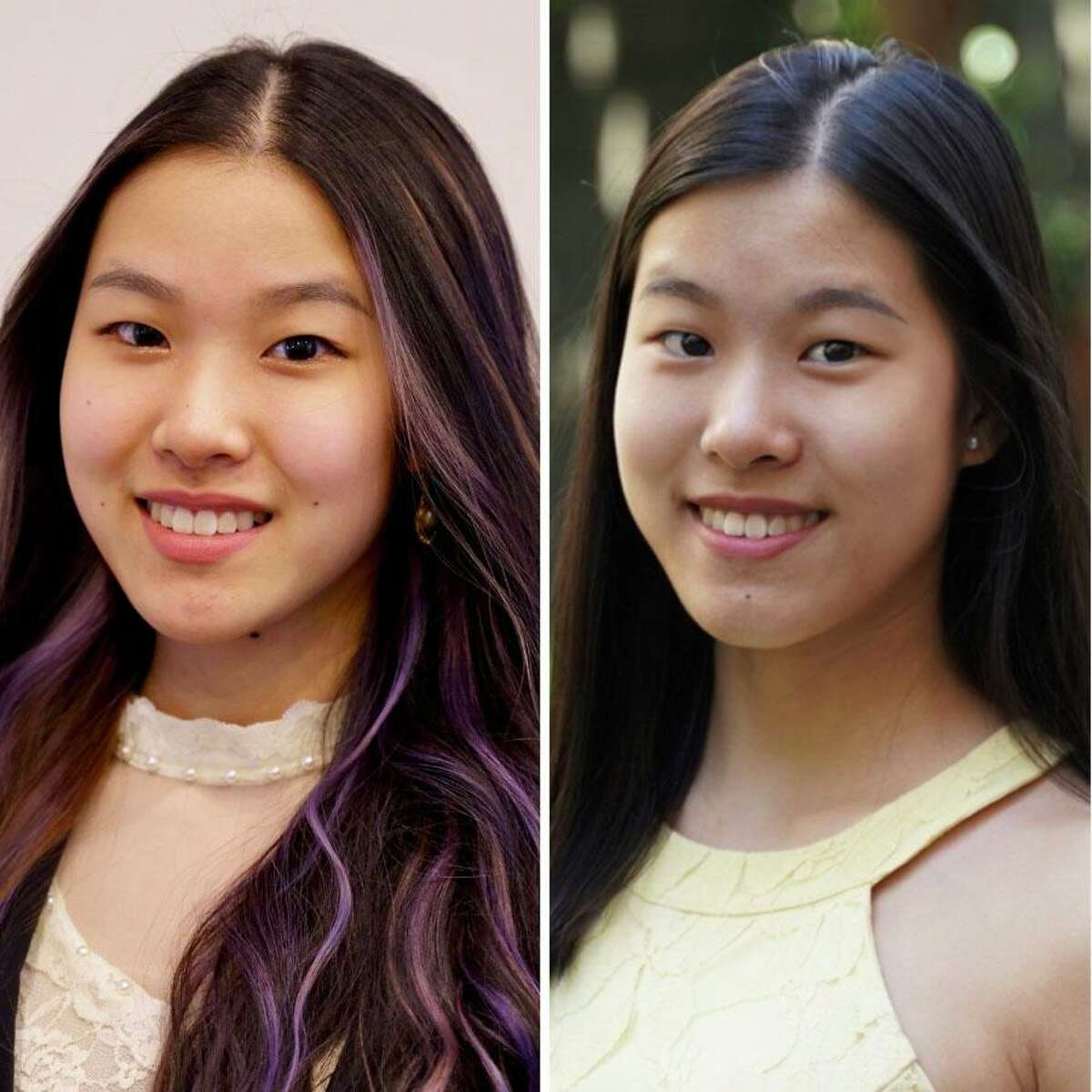 Bellaire High School seniors and twin sisters Annie, left, and Shirley Zhu are two of nine valedictorians at the Houston ISD campus. HISD high schools typically have one or two valedictorians, but the nine Bellaire High seniors each notched identical 5.0 GPAs..