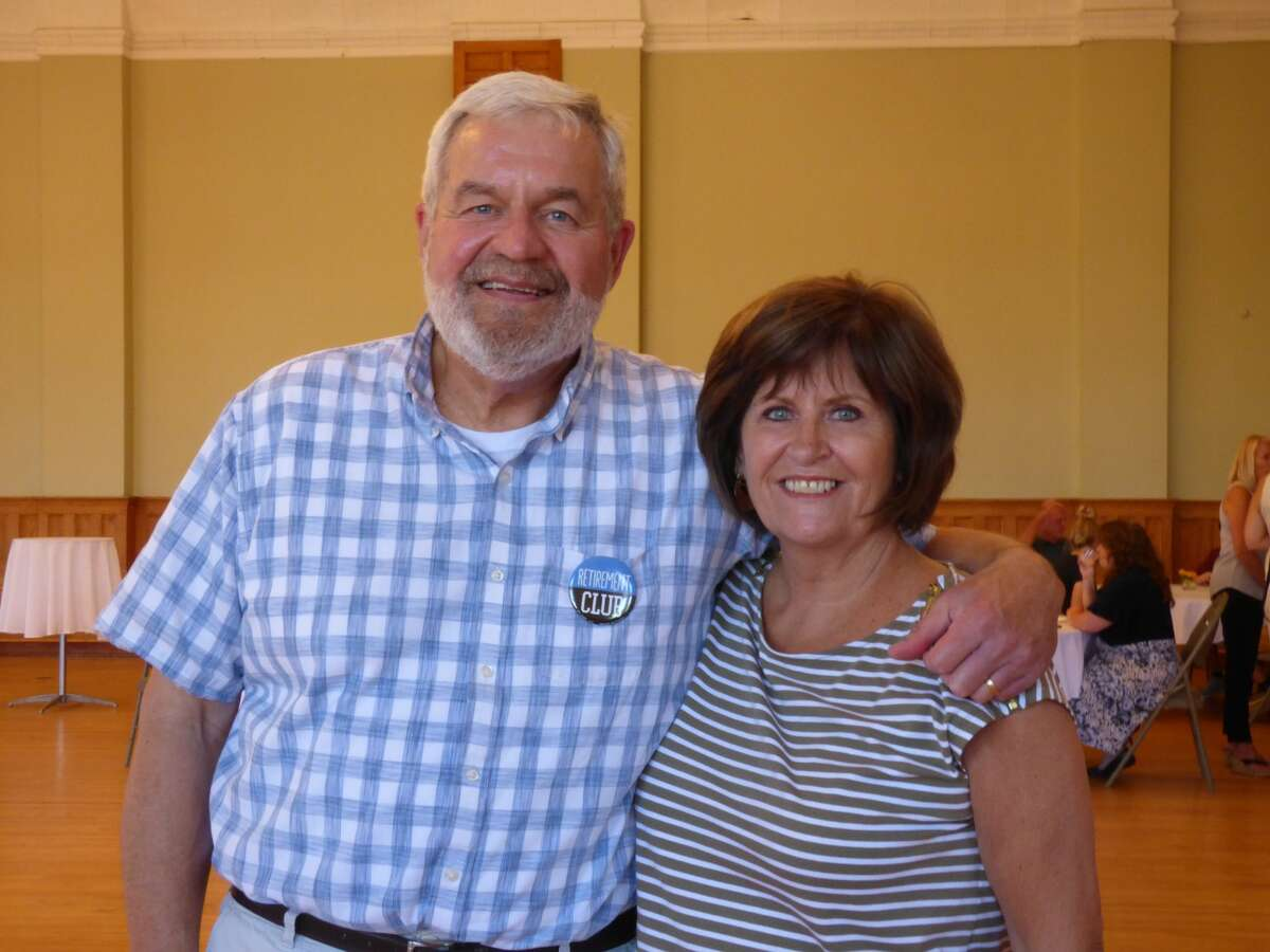 Outgoing city manager Thad Taylor and wife Theresa Taylor enjoy a retirement celebration held at the Ramsdell Regional Center for the Arts on Thursday. Taylor steps down from his position on June 2.