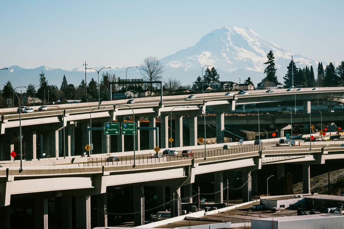I-5 North and South branch off of multiple overpasses stemming from Highway 16, coming from Gig Harbor and the Washington peninsula into the Tacoma area.