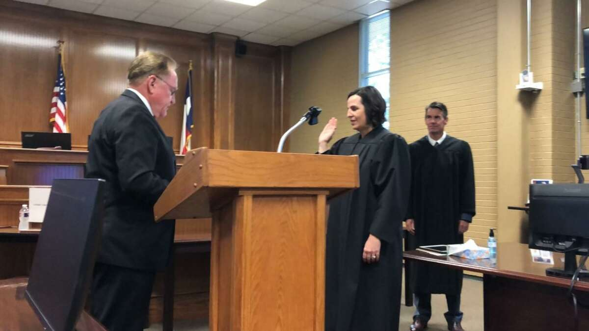 Judge Amy Tucker was sworn in Friday after being appointed last month to fill the unexpired term of Montgomery County Court at Law No. 3 Judge Patrice McDonald.