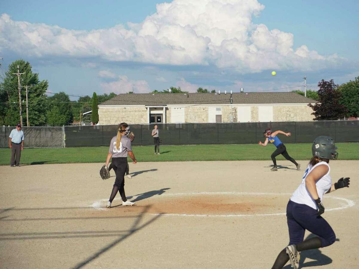 Reed City and Evart squared off on the softball diamond Wednesday evening. (Pioneer photo/Joe Judd)