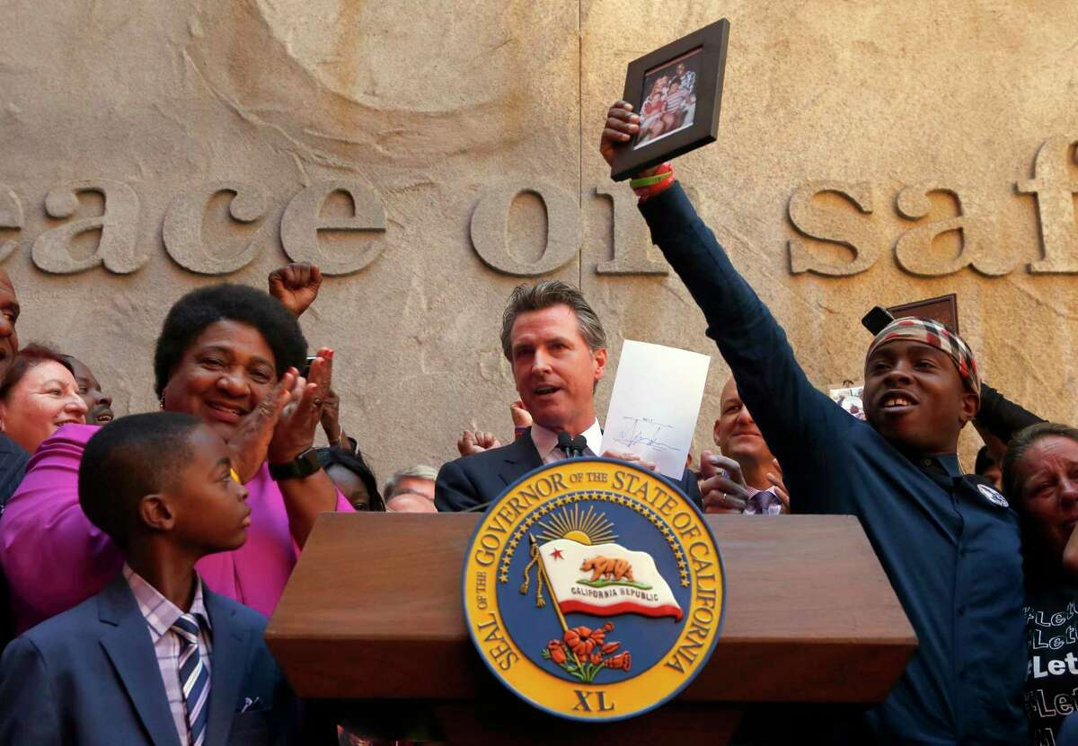 Gov. Gavin Newsom and then-Assemblywoman Shirley Weber, D-San Diego, in happier times.