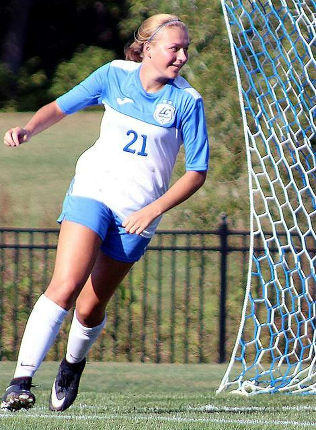 Emma Lucas celebrates a goal during her days with LCCC. Lucas, a Roxana High grad, now plays at Cumberland University in Tennessee.