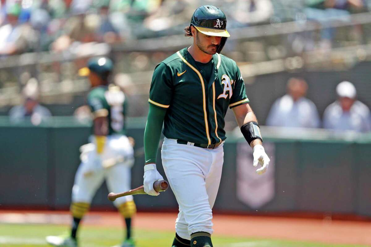 Oakland Athletics' Aramis Garcia reacts to striking out with bases loaded and one out in 2nd inning against Texas Rangers during MLB game at Oakland Coliseum in Oakland,, Calif., on Thursday, July 1, 2021.