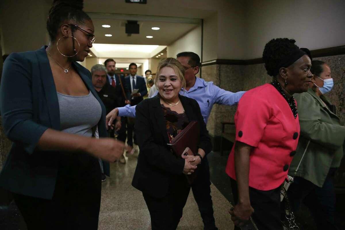 Former Bexar County Precinct 2 Constable Michelle Barrientes Vela leaves court after a hearing Thursday. She has been awaiting trial since her indictment in January 2020 on charges stemming from her time in office.