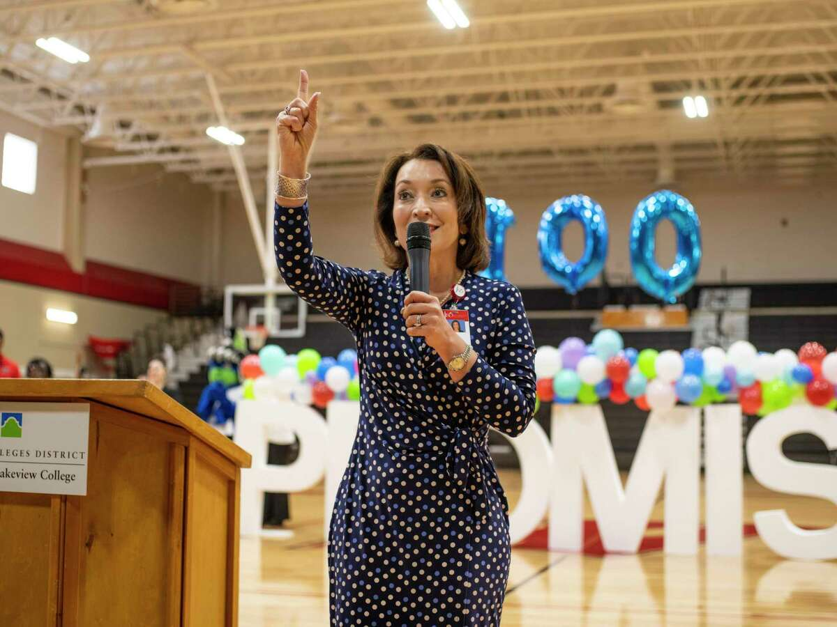 Judson ISD Superintendent Jeanette Ball speaks to the seniors during a pep rally at Karen Wagner High School on Jan. 9, 2020. Ball was named the Region 20 superintendent of the year on Thursday.