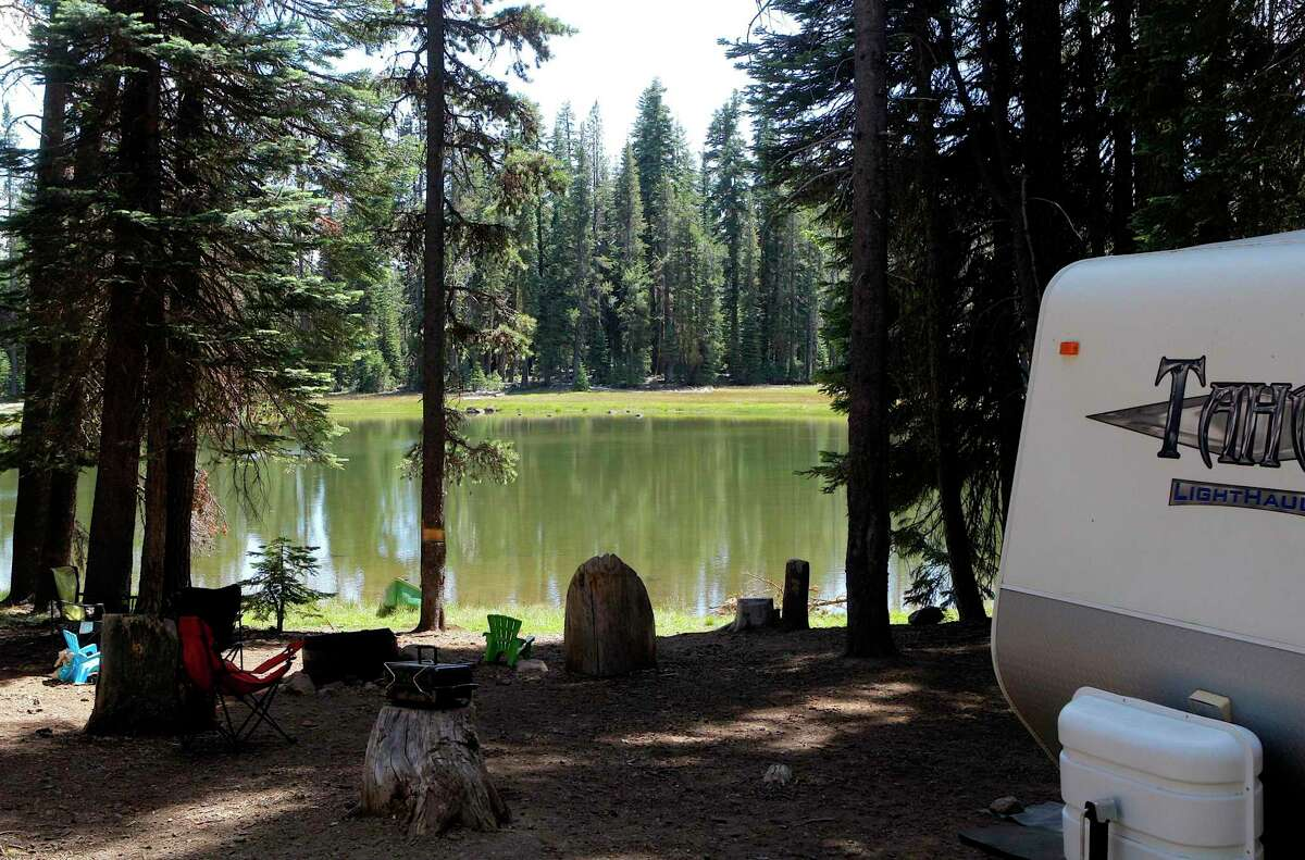 Campsite at Blanche Lake in the Medicine Lake Highlands.