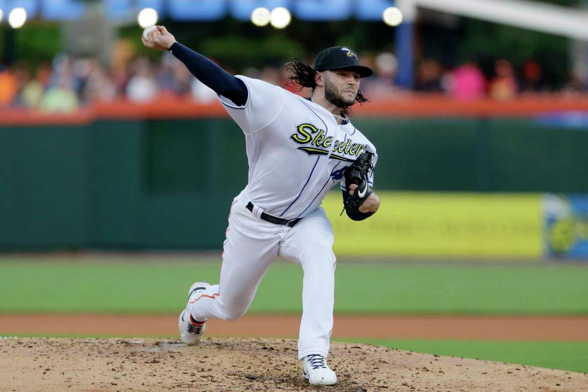 Lance McCullers pitches in the fourth inning against the Round Rock Express during a baseball game Thursday, June 10, in Houston.