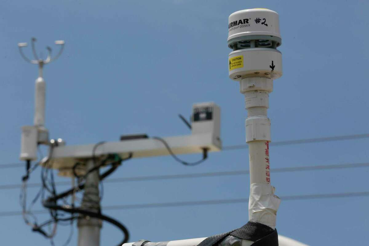 Different type of monitors on a telescoping mast during a press availability event that showed the air monitoring vehicle (called the MAAML van, for Mobile Ambient Air Monitoring Lab) to monitor for formaldehyde Thursday, July 1, 2021, in La Porte.