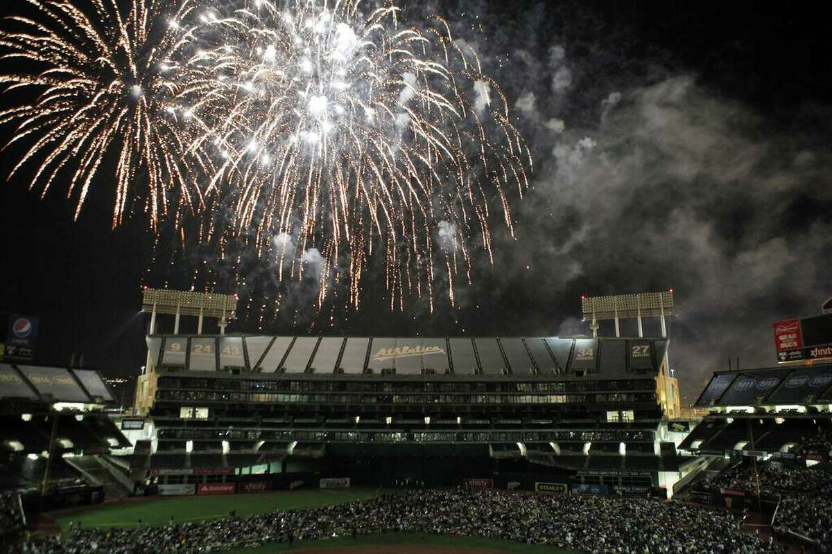 The Oakland Athletics gave their fans a fireworks treat after they played the Chicago Cubs at O.co Coliseum in Oakland, Calif., on Wednesday, July 3, 2013.